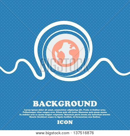 Globe, World Map Geography  Sign Icon. Blue And White Abstract Background Flecked With Space For Tex