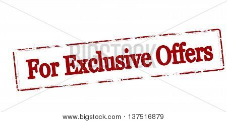 Rubber stamp with text for exclusive offers inside vector illustration