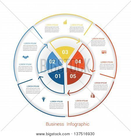 Template infographic five position steps parts with text area vector illustration colourful in the form of circle parts. Business pie chart diagram data.