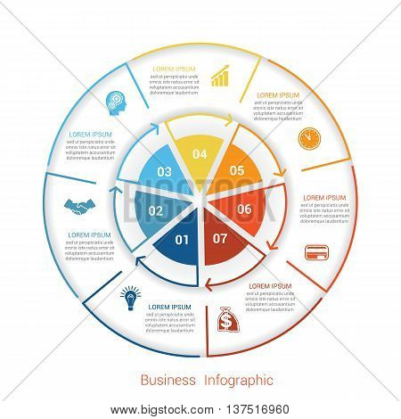 Template infographic seven position steps parts with text area vector illustration colourful in the form of circle parts. Business pie chart diagram data.