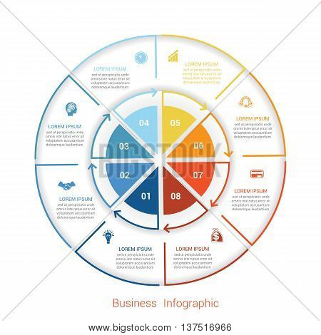 Template infographic eight position steps parts with text area vector illustration colourful in the form of circle parts. Business pie chart diagram data.