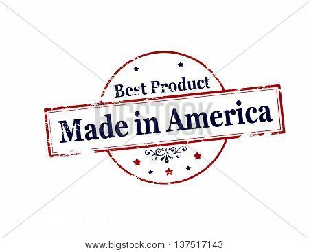 Rubber stamp with text made in America inside vector illustration