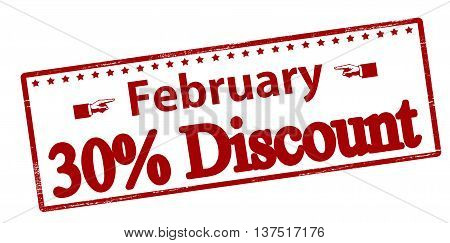 Rubber stamp with text February thirty percent discount inside vector illustration