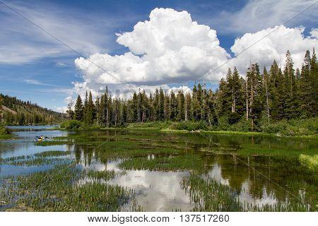 Twin lakes close to Mammoth Lake, California