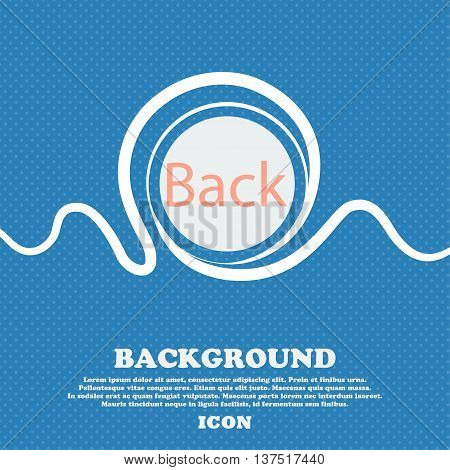 Arrow Sign Icon. Back Button. Navigation Symbol. Blue And White Abstract Background Flecked With Spa