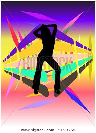 A dancing woman silhouette with a cool disco background