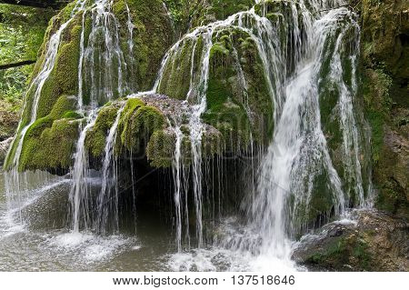 Waterfall Bigar in summer. Located at the intersection with the parallel 45 in district Caras-Severin Romania. One of the most beautiful cascade from the world.