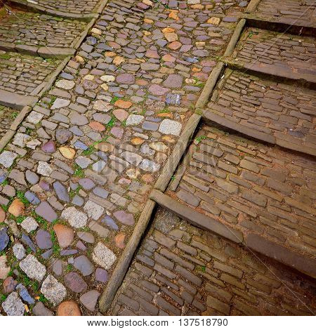 Detail of cobblestone street in Exeter England