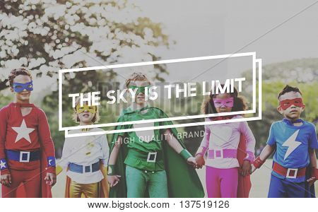 Sky is the Limit No Boundaries Motivation Adventure Concept