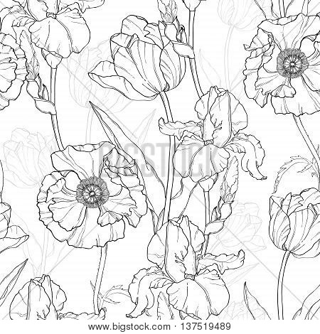 Vector Vintage Black White Flowers Drawing Seamless Repeat Pattern With Tulips, Poppies, Iris In Classic Retro  Style Textile Design. Perfect for fabric, products, packaging, wallpaper, wrapping paper, scrapbooking.