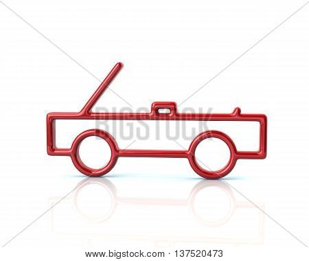 3D Illustration Of Red Cabriolet Car Icon