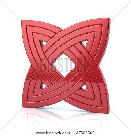 3D Illustration Of Red Basic Knot Design