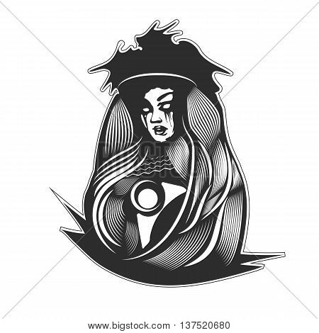 Mysterious woman in black. Gothic sketch sticker, tattoo. Vector