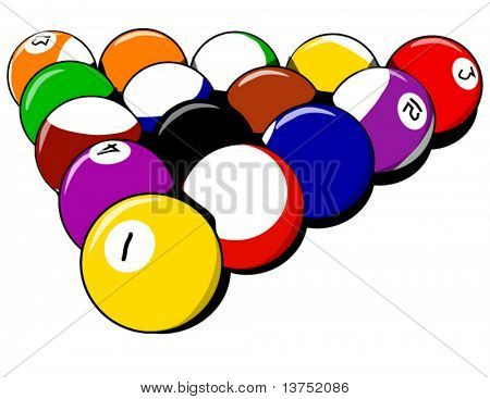 Billiards balls. A set of 8 balls just taken out of the rack ready to break