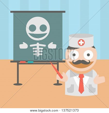Vector clipart doctor lecturing about bone diseases
