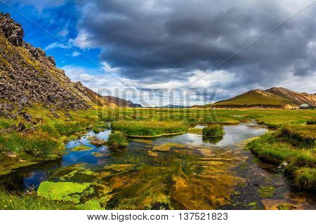 The picturesque valley in Landmannalaugar national park. July in Iceland. Green grass among hot springs