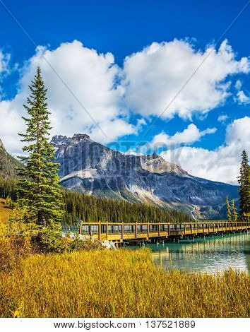 Wooden bridge over Emerald Lake. British Columbia, Yoho National Park, Rocky Mountains