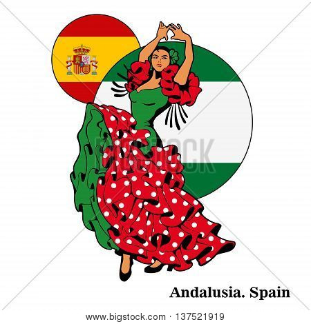 Flamenco in Andalusia woman in dance. Spain