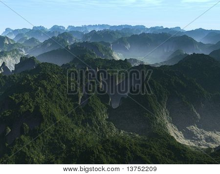A foggy mountain scene with nice valleys