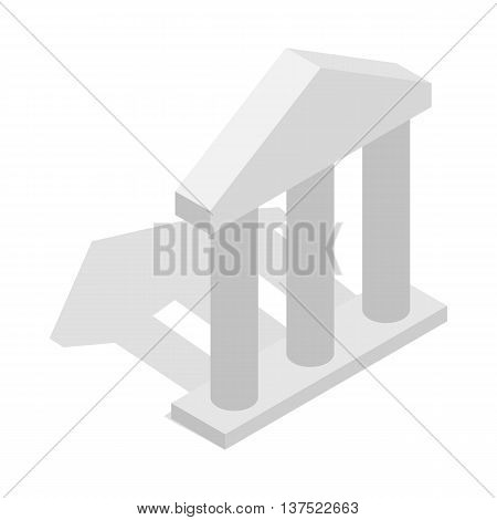 Building facade with three pillars icon in isometric 3d style isolated on white background