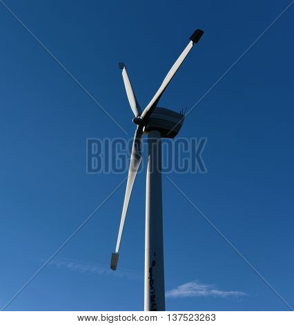 Wind power station in Jeseniky mountains in summer day