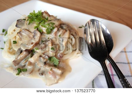 Spaghetti with cream sauce, mushrooms and bacon on a white plate