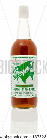 Winneconnie WI - 7 July 2016: Bottle fo Truphil fish sauce on an isolated background.