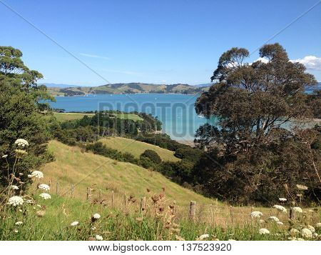 View of New Zealand landscape, looking over the rolling green hills of Waiheke Island NZ towards Ponui Island in the Hauraki Gulf near Auckland.