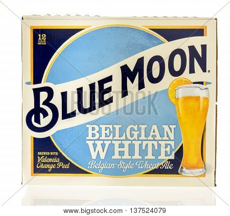 Winneconnie WI - 7 July 2016: Blue Moon 12 pack of beer on an isolated background.