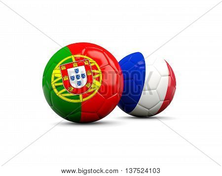 France And Portugal Soccer Balls Isolated On White