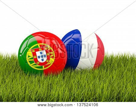 France And Portugal Soccer  Balls On Grass