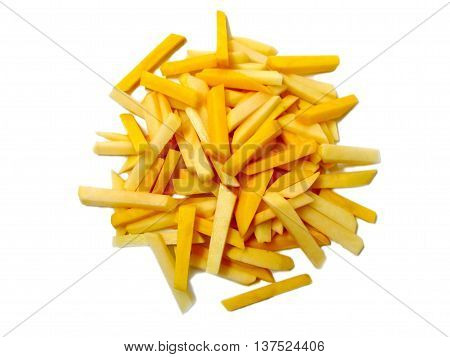 Raw french fries isolated on white background
