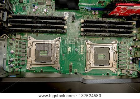 Winneconne WI - 1 July 2016: Motherboard consisting of two CPUs by Dell in there precision series of computers