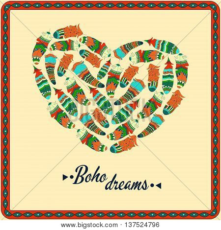 Bohemian style poster with gypsy colorful feathers arranged in heart