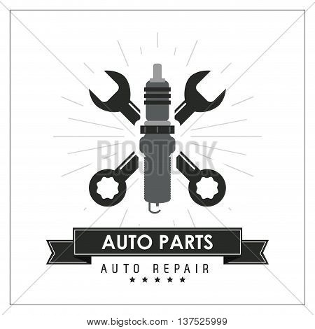 Auto parts and transportation concept represented by wrench icon. Flat and frame illustration