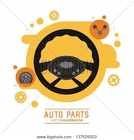 Auto parts and transportation concept represented by rudder icon. Flat illustration