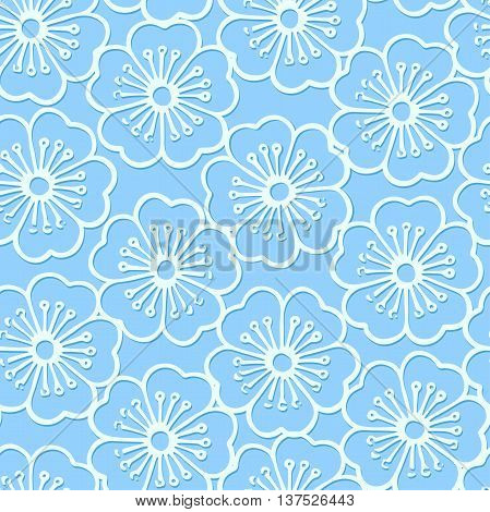 White stencil print hibiscus floral seamless pattern .