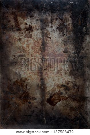 artistic dark background texture with metal and blemishes