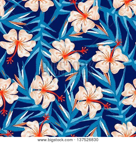 Tropical ginger embroidery floral design seamless pattern .