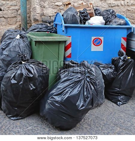 Uncollected Overfilled Waste Garbage in Naples Italy