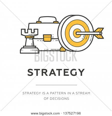 Business strategy concept. Line design icon. Vector illustration