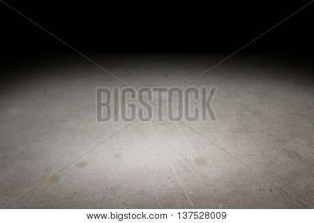 Perspective Grunge Concrete Floor Fade To Black Background, Template Mock Up For Display Of Product