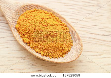 turmeric powder in wooden spoon on wooden background.