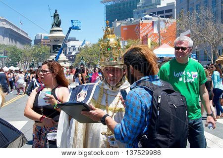 San Francisco CA - June 25 2016: Unidentified participants celebrates at the 46th annual San Francisco Gay Pride Festival held at Civic Center in downtown San Francisco.