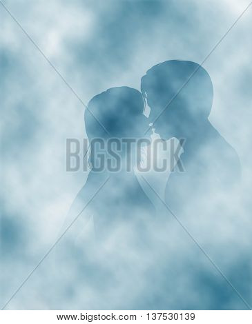 Editable vector illustration of two lovers surrounded by steam or mist made using gradient meshes