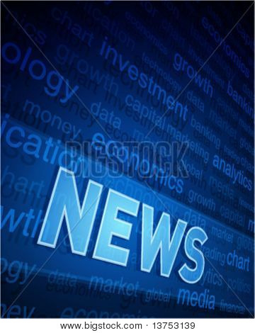 3d news text in perspective with tags and light vector background