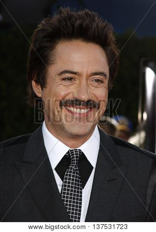 Robert Downey Jr. at the Los Angeles premiere of 'Tropic Thunder' held at the Mann Village Theater in Westwood, USA on August 11, 2008.