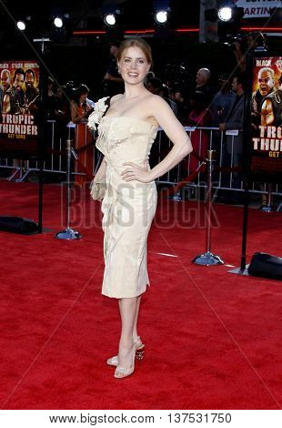 Amy Adams at the Los Angeles premiere of 'Tropic Thunder' held at the Mann Village Theater in Westwood, USA on August 11, 2008.