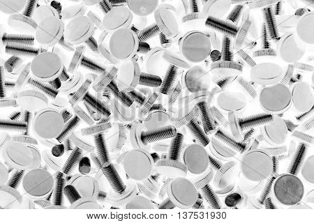group of screws with the plastic head in the warehouse