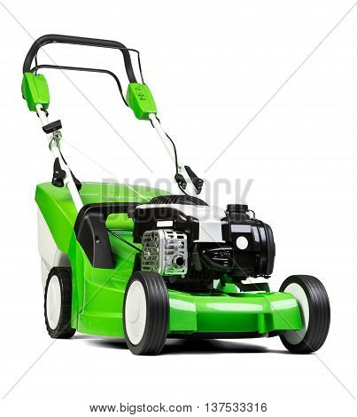 Studio shot of green lawnmower.  Lawn mower green